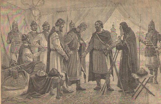 Владимир Мономах уговаривает князей идти на половцев 1