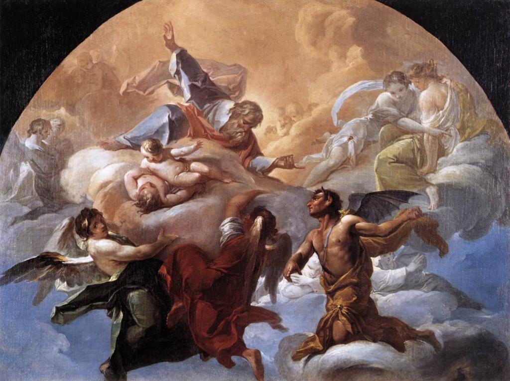 Corrado Giaquinto Satan_before_the_Lord 1750